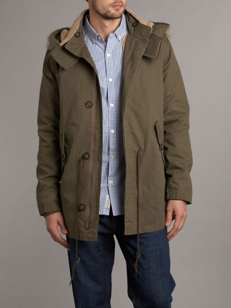 Original Penguin Mens Parker Coat In Green For Men Black