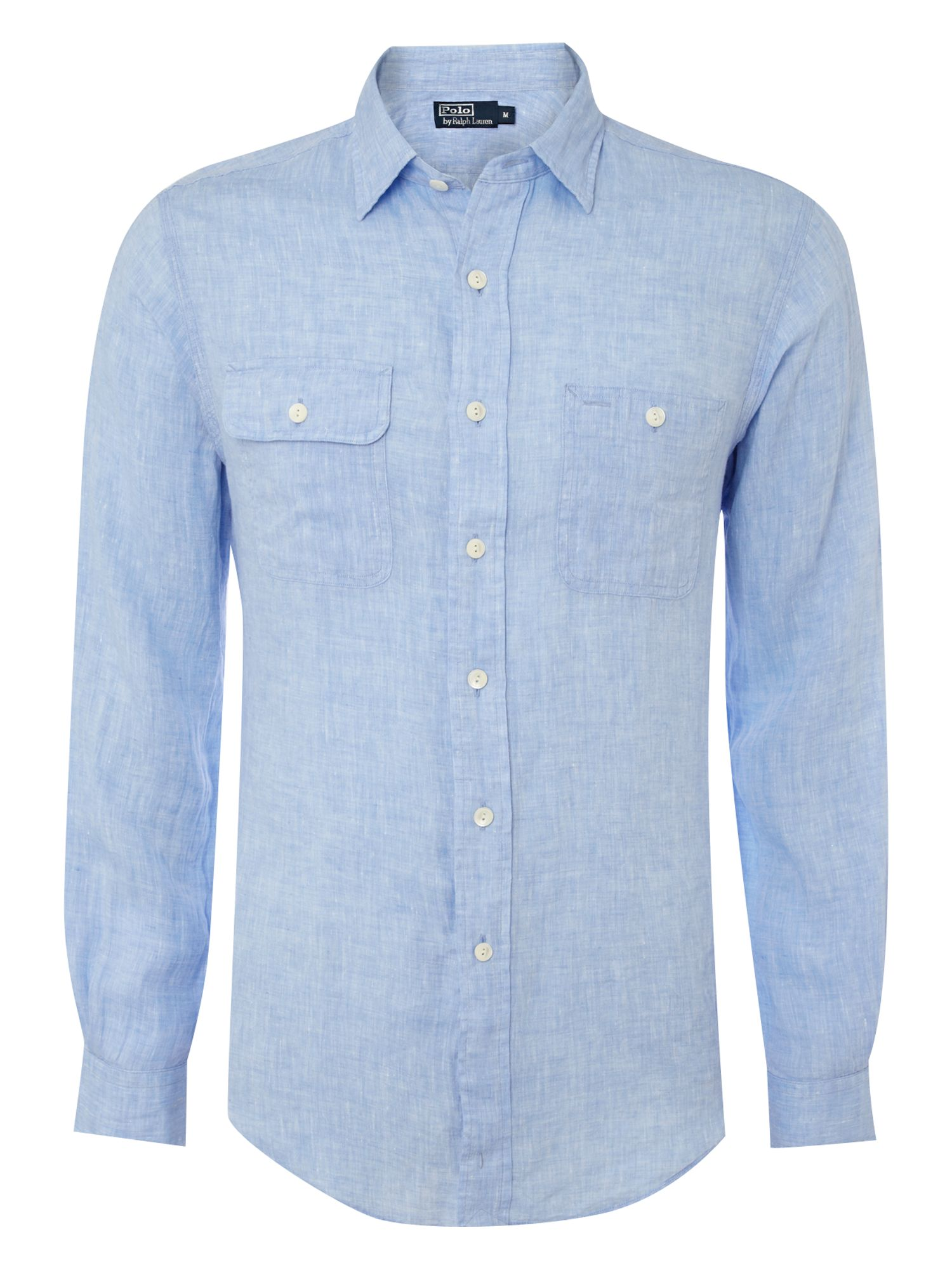 Polo ralph lauren custom fit linen shirt in blue for men for Custom fit dress shirts