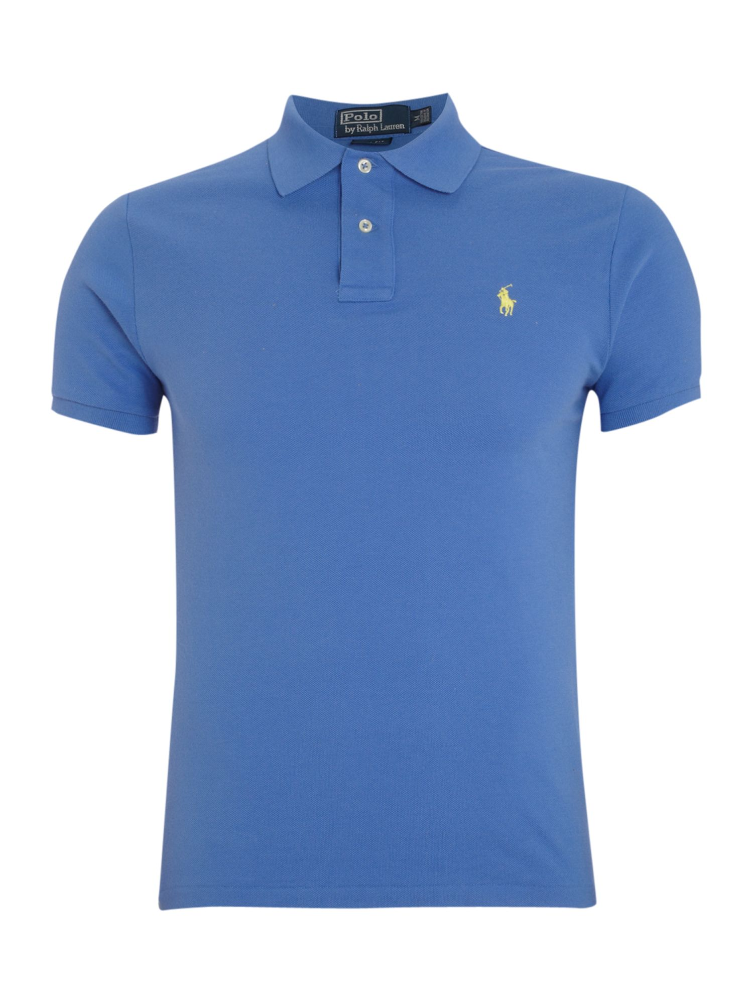 Polo ralph lauren slim fitted polo shirt in blue for men for Cobalt blue polo shirt
