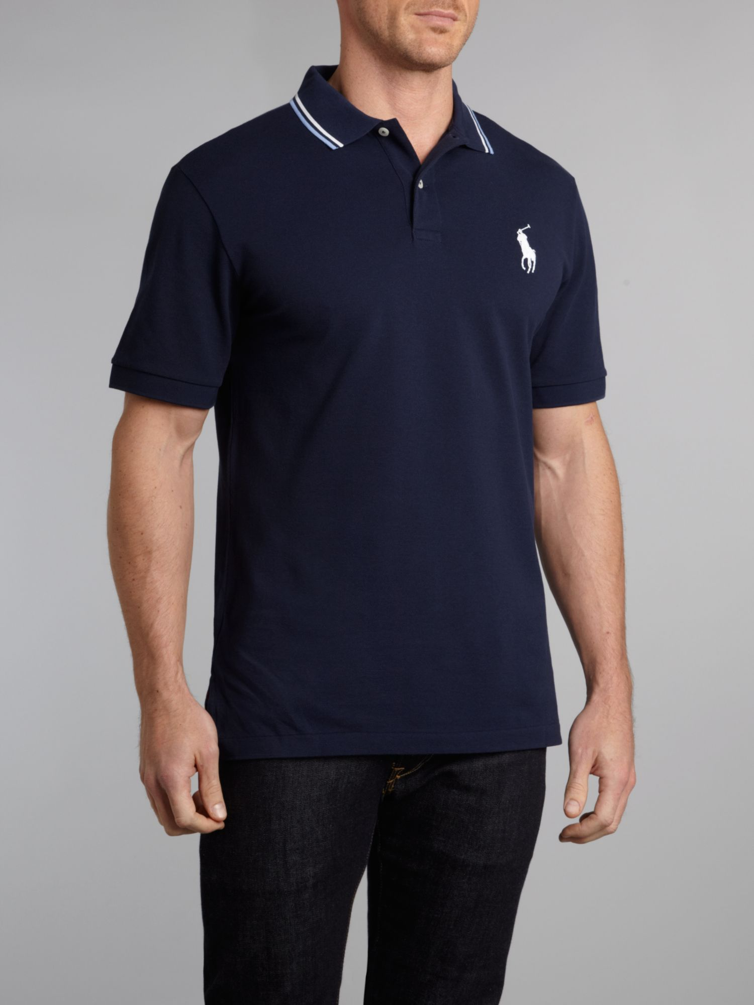 Ralph Lauren Men's White Navy Big Pony Polo