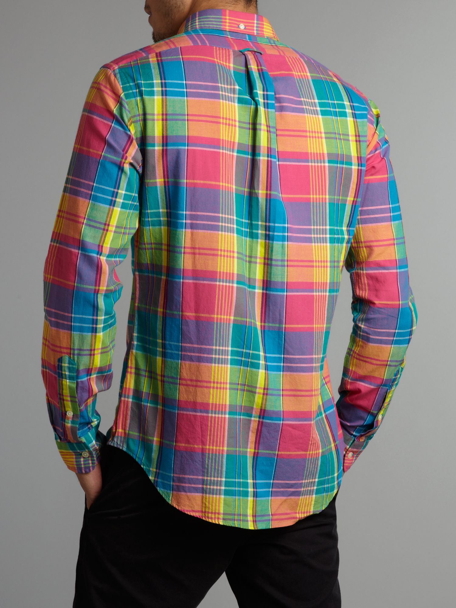 Polo ralph lauren Slim Fit Bright Plaid Shirt in Pink for Men | Lyst