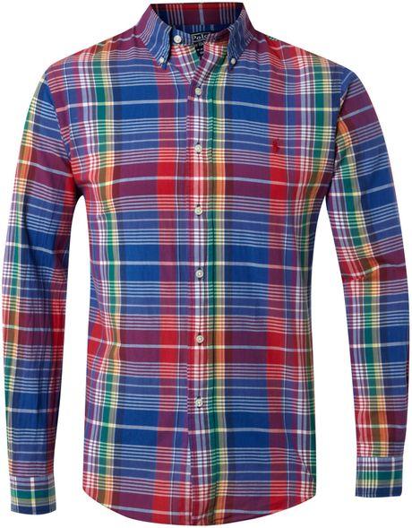 Polo ralph lauren long sleeved madras shirt in blue for for Mens madras shirt sale