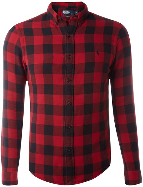 Polo Ralph Lauren Slim Fit Large Check Shirt in Red for Men