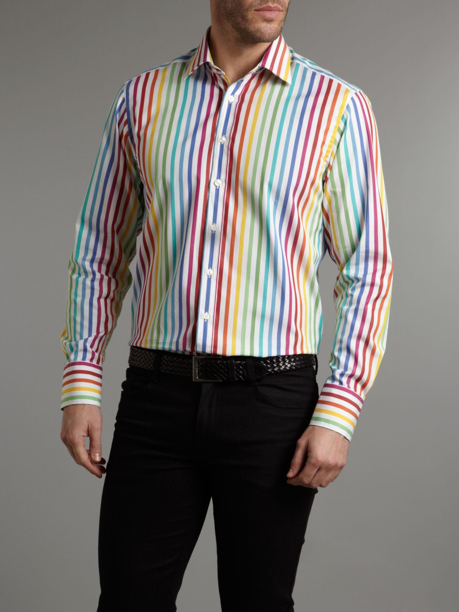 Lyst Simon Carter Long Sleeved Color Stripe Shirt For Men