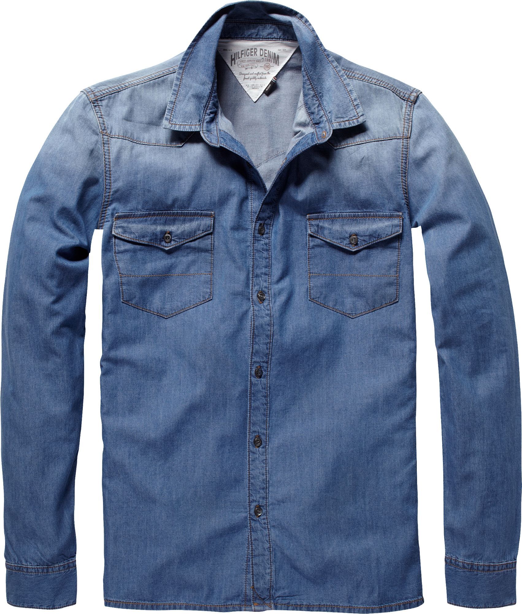 tommy hilfiger gratton faded denim shirt in blue for men. Black Bedroom Furniture Sets. Home Design Ideas