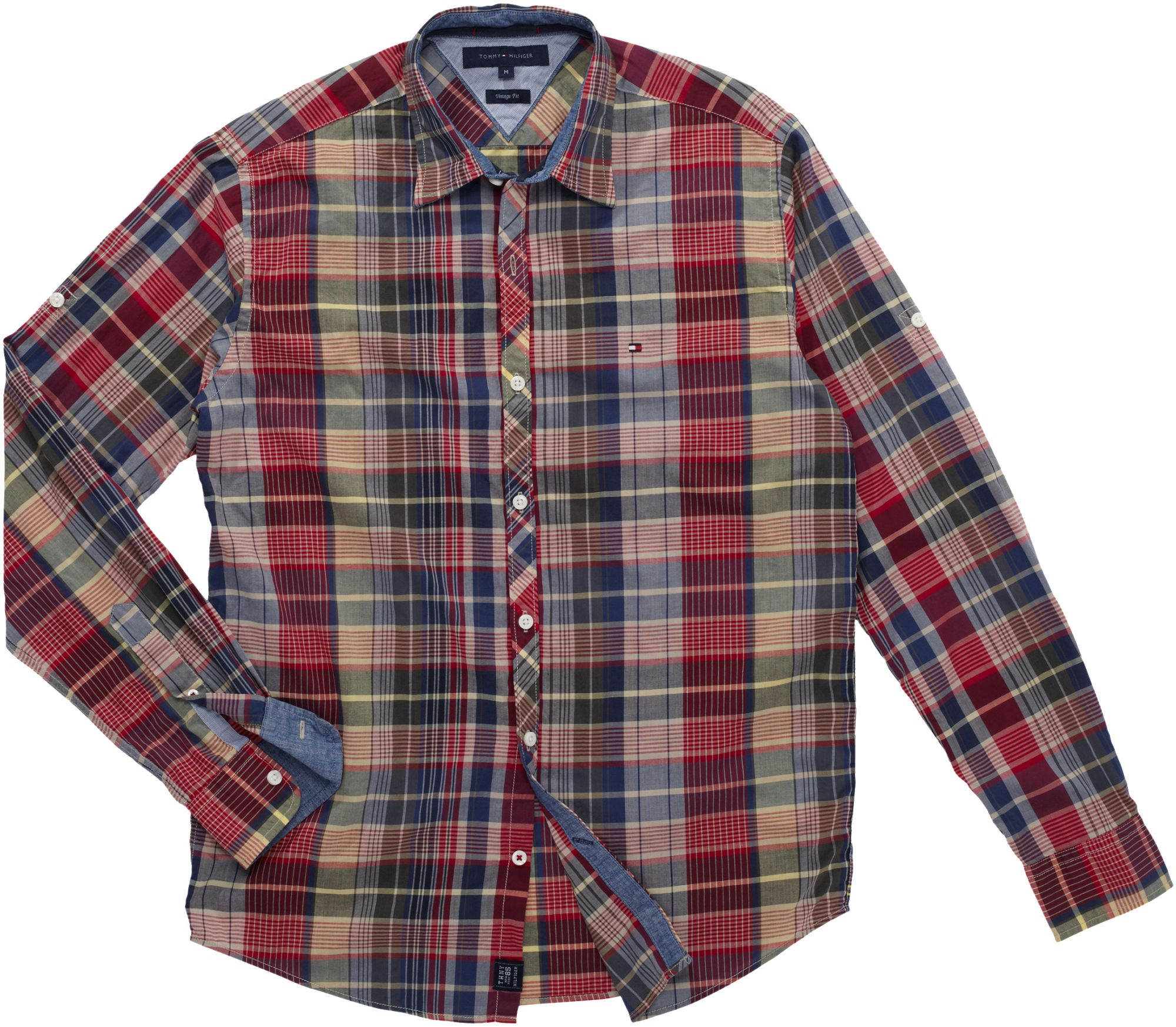 tommy hilfiger leon vintage fit check shirt in red for men
