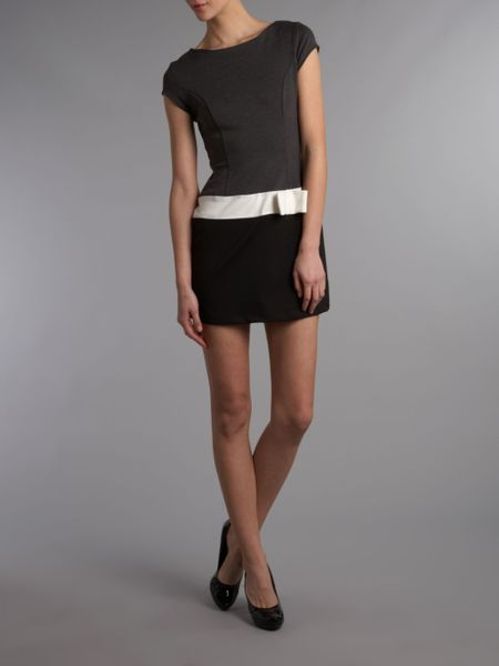 wal g fitted dress with thick black belt in gray grey lyst
