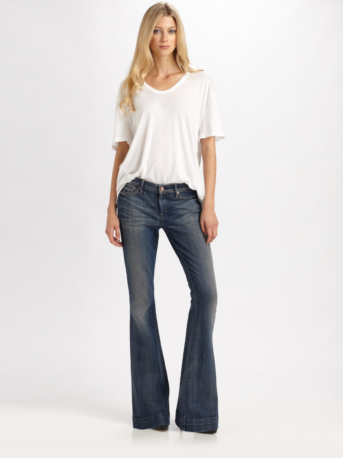 7 for all mankind Jiselle Flare Jeans in White | Lyst