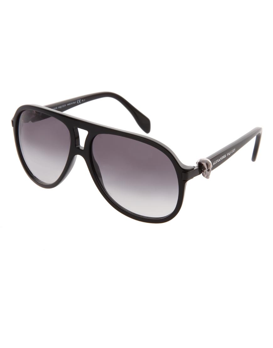 176684d3cb0 Lyst - Alexander McQueen Plastic Skull Aviator Sunglasses in Black ...