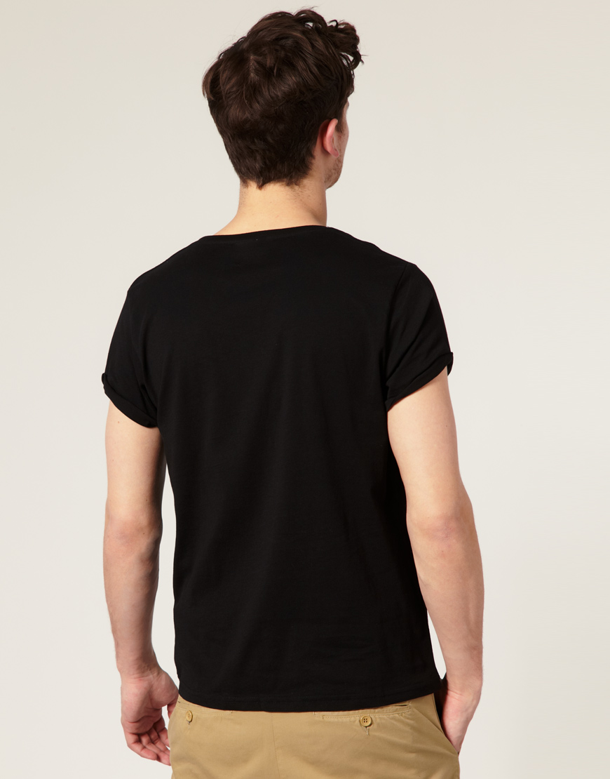 Black t shirt rolled up sleeves - Gallery