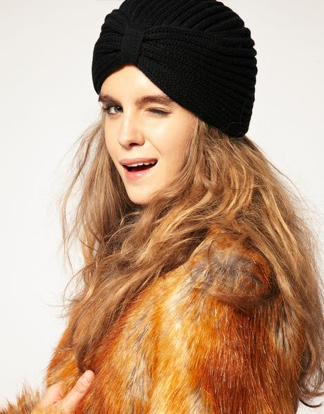 Asos Collection Asos Knitted Turban Hat in Black - Lyst
