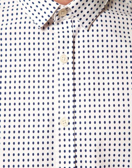 Asos Asos Slim Fit Polka Dot Shirt in Beige for Men (ecru)