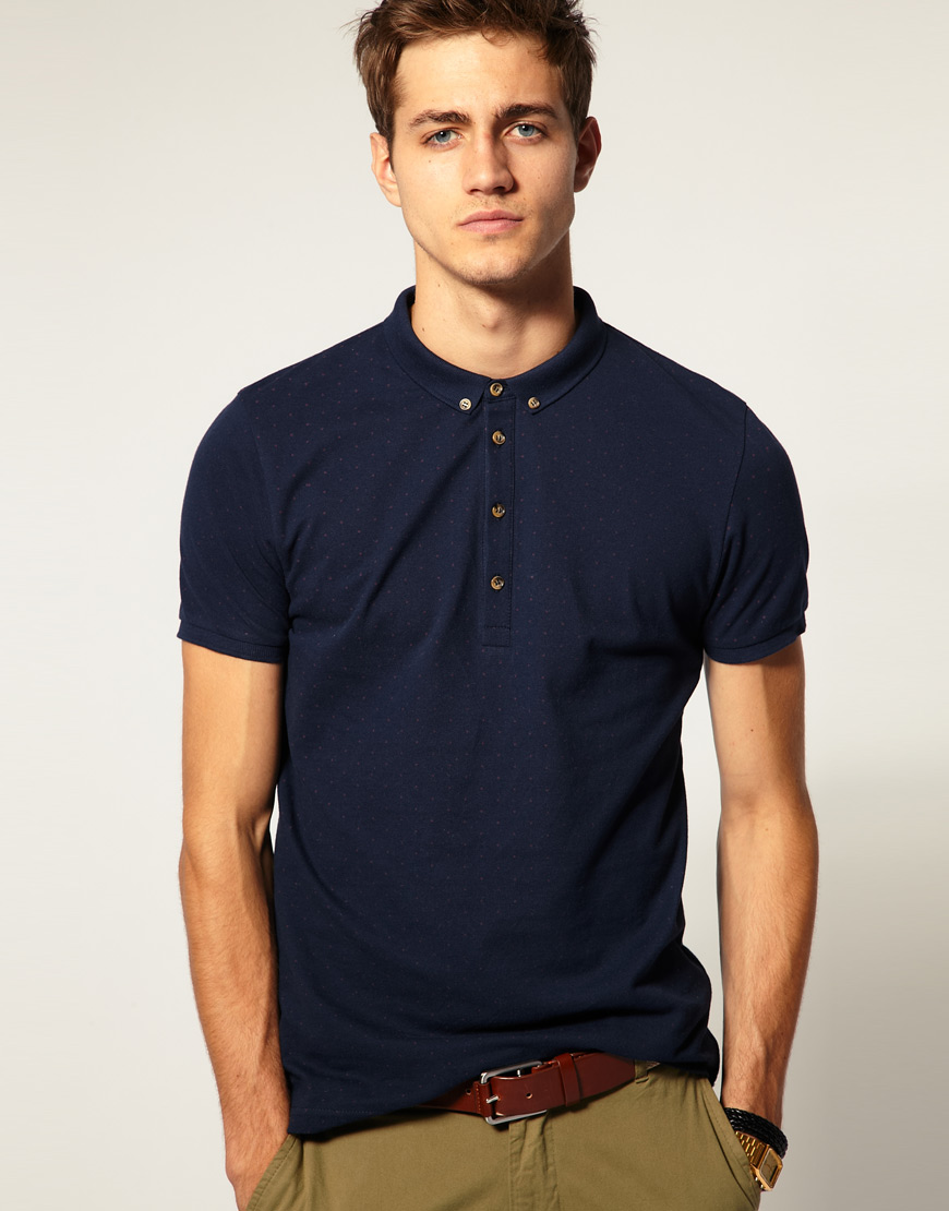 Asos pique polo shirt with polka dot print in blue for men for Mens polo dress shirts