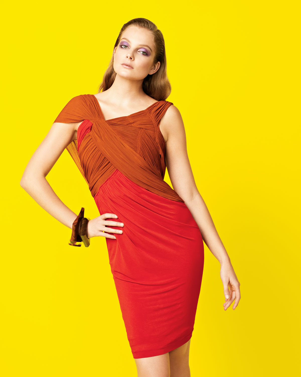 Lyst donna karan slash draped jersey dress in orange for Donna karen new york