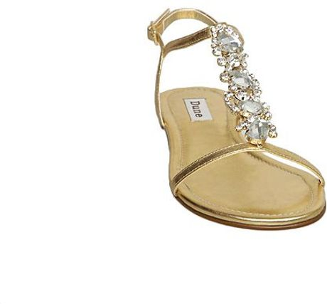 Dune Kute D Diamante Strap Back Sandals In Gold Lyst