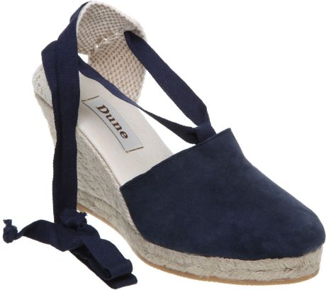 dune new orleans d ankle tie espadrille sandals in blue