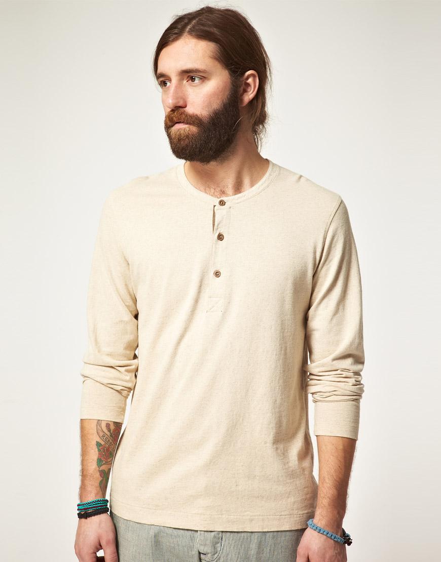 Lyst - Edwin Edwin Henley Long Sleeve Tshirt in Natural for Men 7205764b2dd