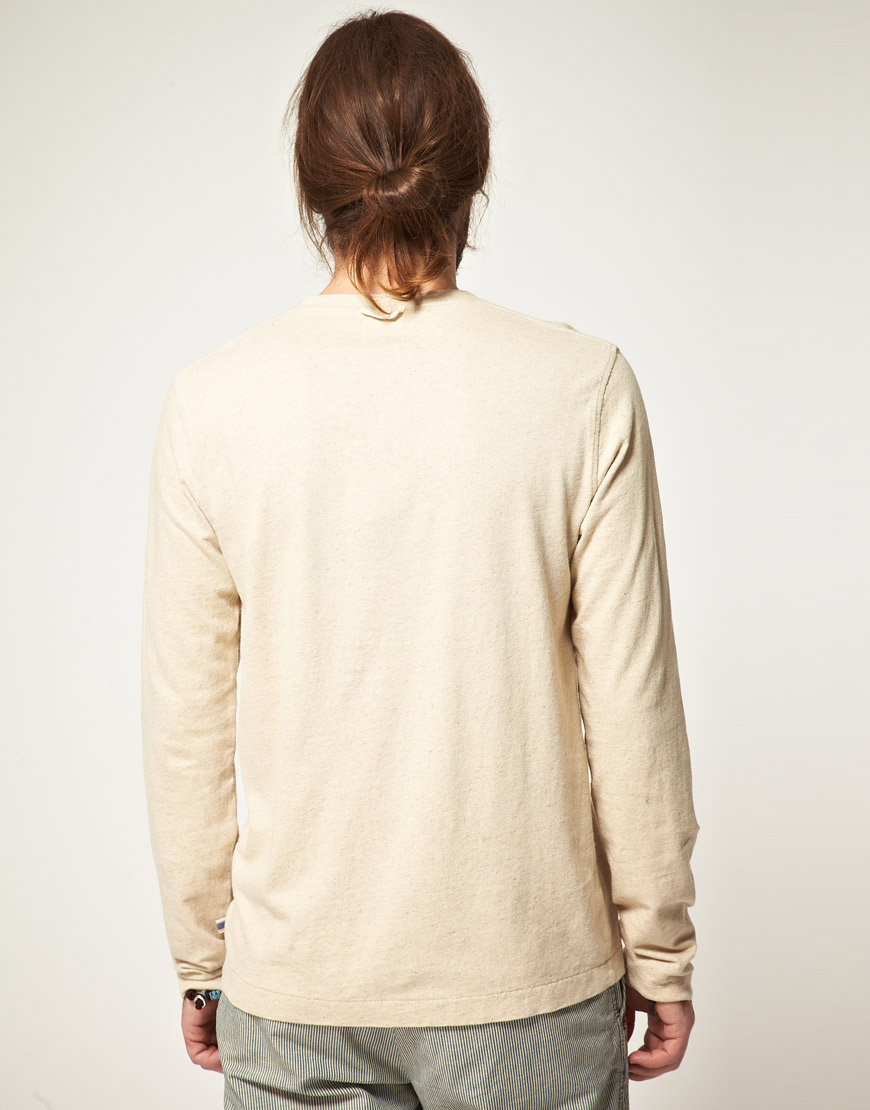 Edwin Edwin Henley Long Sleeve Tshirt in Natural for Men | Lyst
