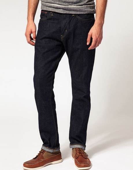 edwin hon selvage tapered straight jeans in blue for men rinsedblue lyst. Black Bedroom Furniture Sets. Home Design Ideas