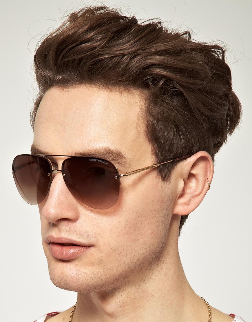 9b5a5707e51 Lyst - Emporio Armani Emporio Armani Aviator Sunglasses in Metallic for Men