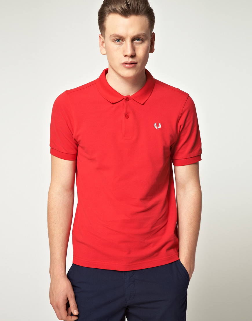 fred perry fred perry slim fit plain polo shirt in red for. Black Bedroom Furniture Sets. Home Design Ideas