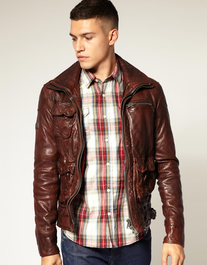 Lyst - Superdry Superdry Tar Pit Leather Jacket in Brown for Men 719f040a3eb6