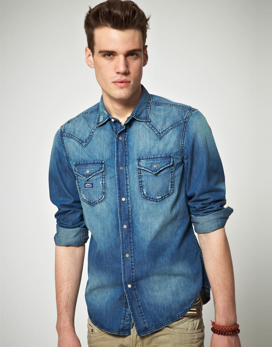 3308becf5ec Lyst - DIESEL Diesel Wearny Western Denim Shirt in Blue for Men