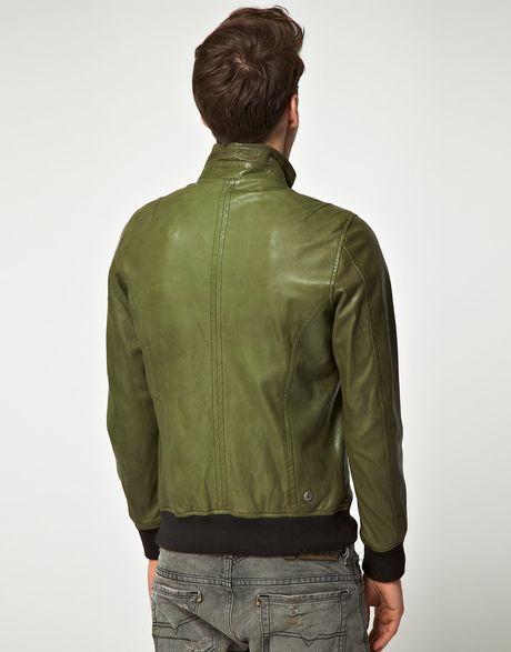 Diesel Diesel Loyd Zip Biker Leather Jacket in Green for Men | Lyst