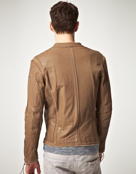 Diesel Diesel Lion Leather Jacket in Green for Men | Lyst