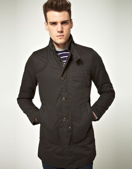 star raw g star twelve gauage trench coat in gray for men grey. Black Bedroom Furniture Sets. Home Design Ideas