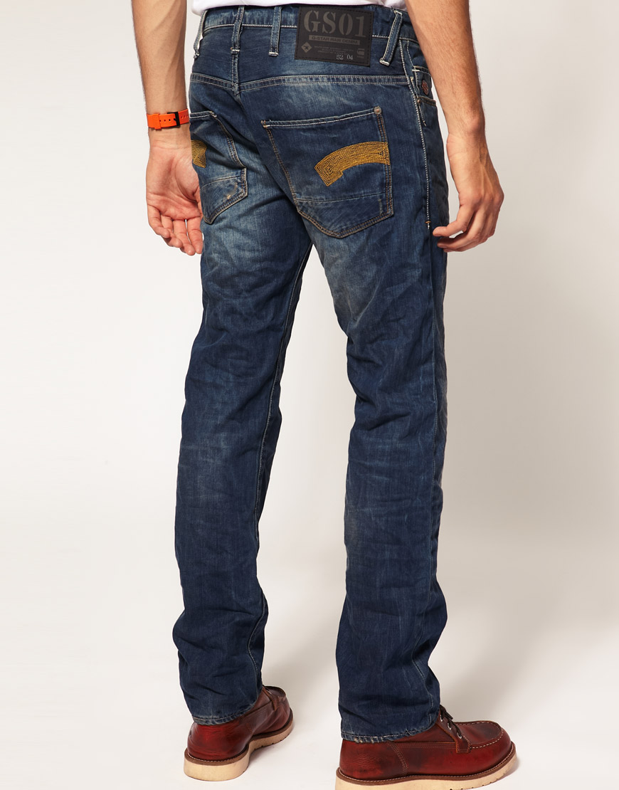 Lyst G Star Raw G Star Heller Low Straight Jeans In Blue