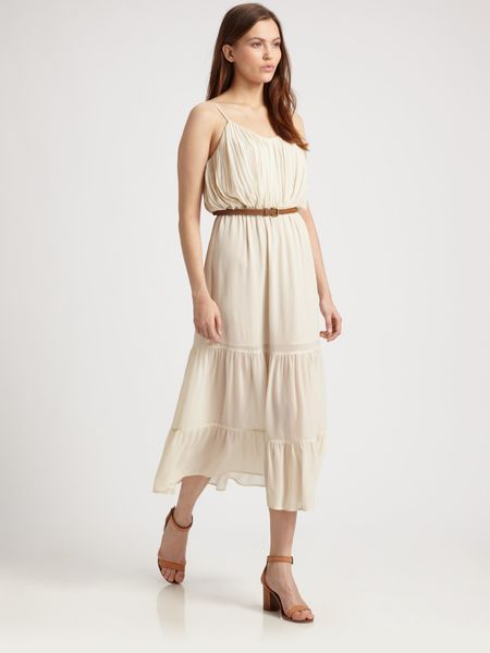 Joie Silk Pintuck Dress in Beige (grey)