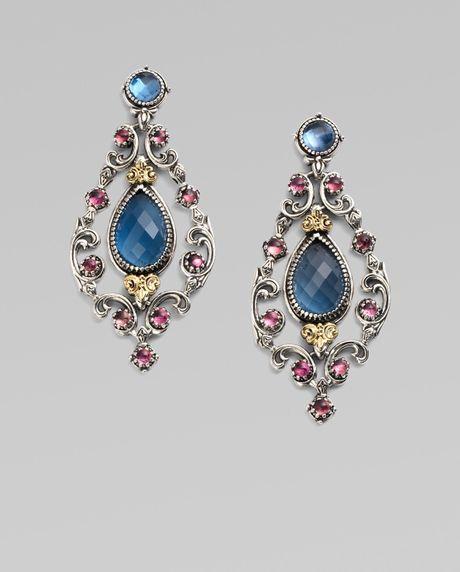 Konstantino Semiprecious Multistone Chandelier Earrings in Blue (silver)