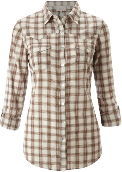 Linea Weekend Checked Shirt in Beige (coral)
