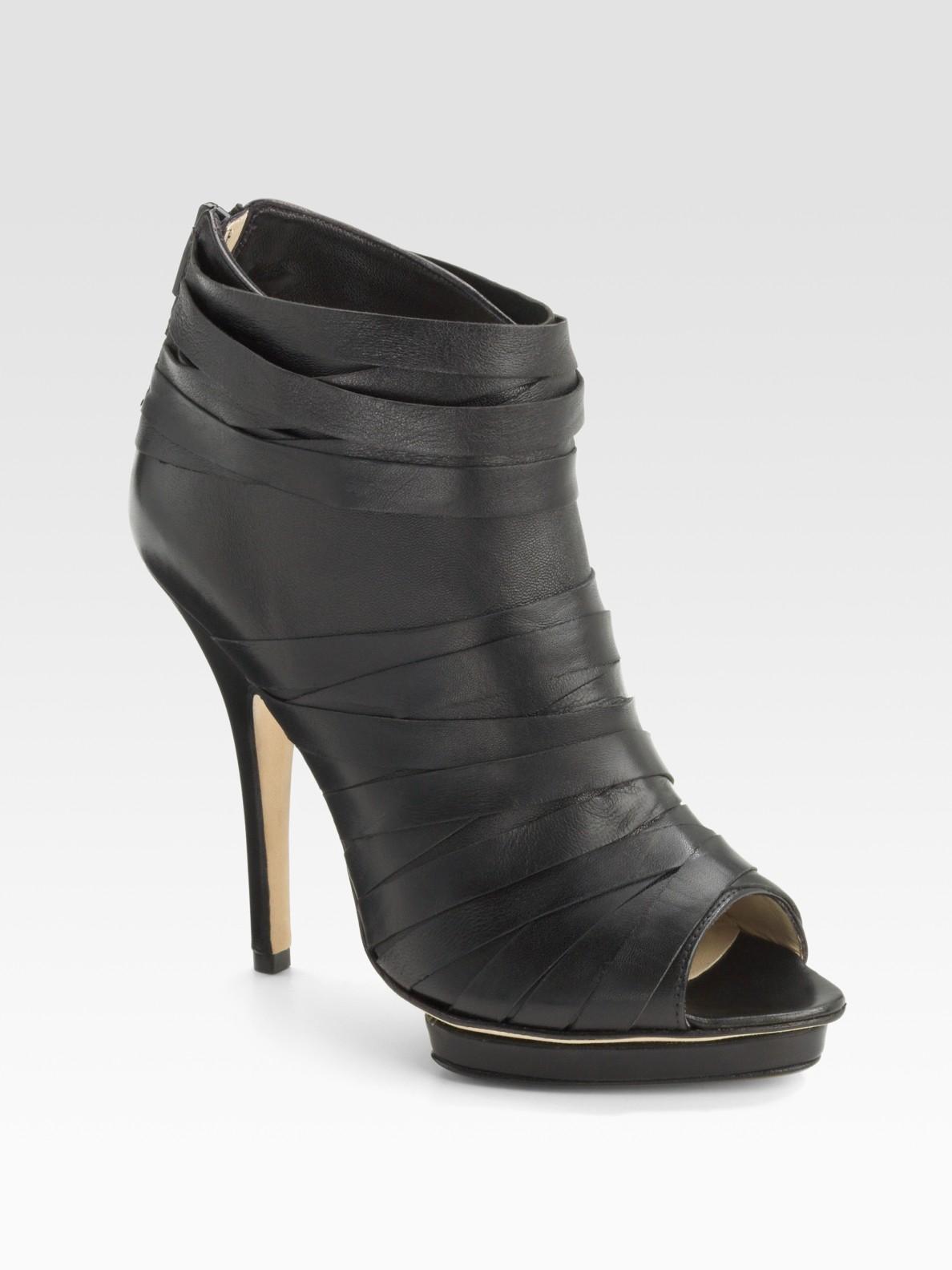 Lyst Max Kibardin Peep Toe Slashed Ankle Boots In Black