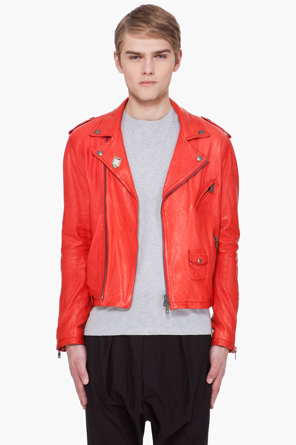 Lyst Mcq Red Leather Jacket In Red For Men