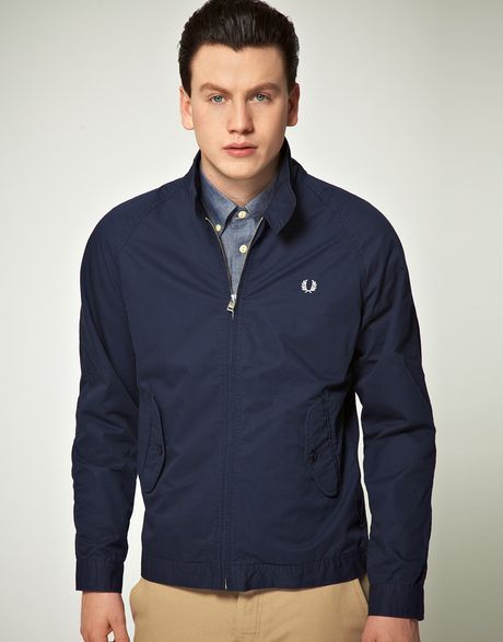 fred perry fred perry light weight harrington jacket in blue for men. Black Bedroom Furniture Sets. Home Design Ideas