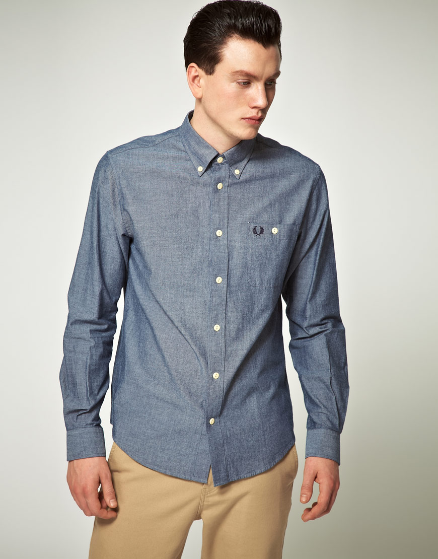 Lyst fred perry fred perry chambray shirt in blue for men for Fred perry mens shirts sale