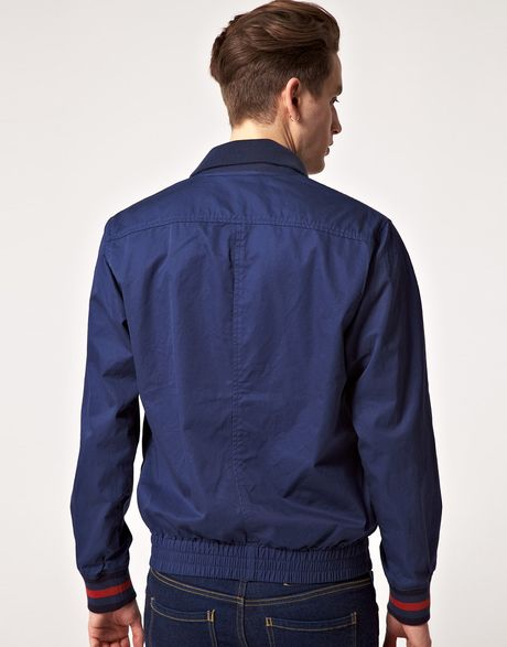 fred perry fred perry bomber jacket in blue for men indigoblue lyst. Black Bedroom Furniture Sets. Home Design Ideas