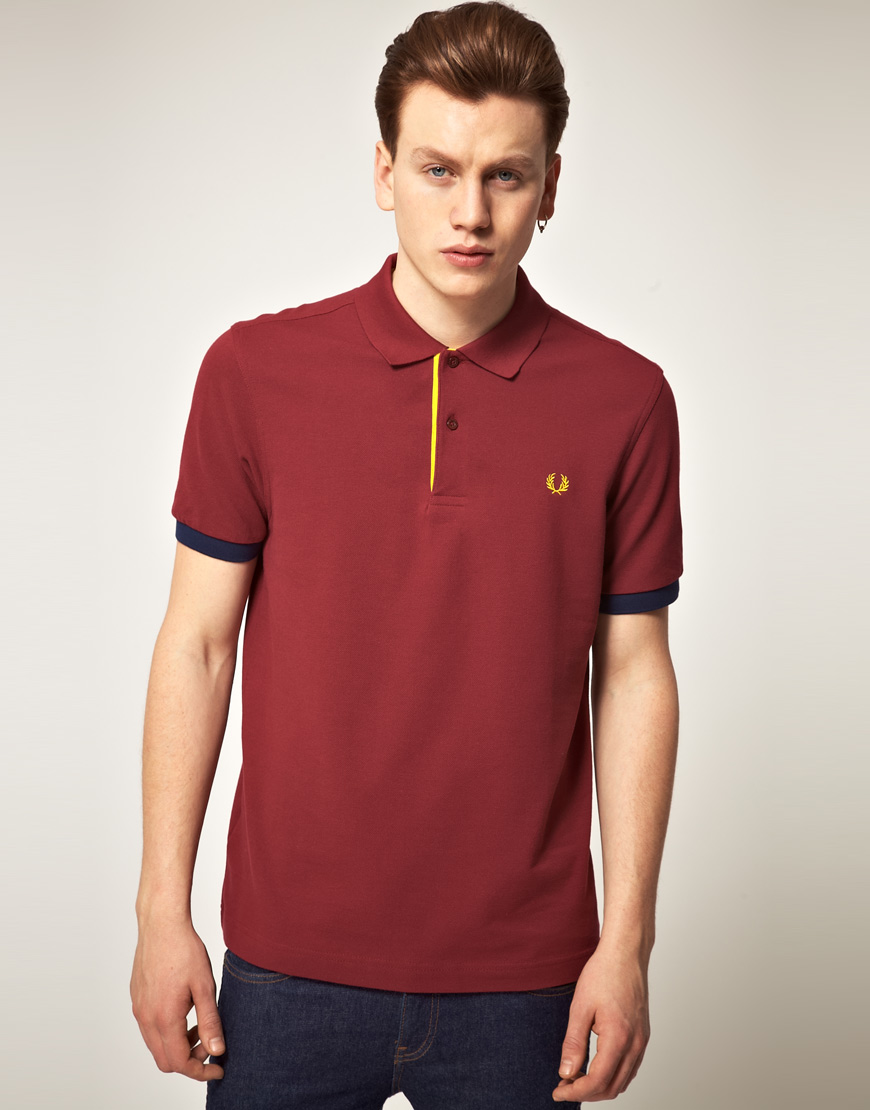 Fred perry fred perry madras trim polo shirt in red for Fred perry mens shirts sale