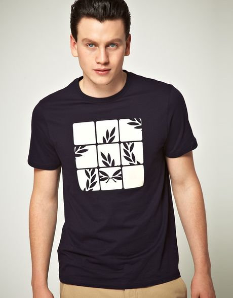 fred perry fred perry laurel puzzle tshirt in blue for men navy. Black Bedroom Furniture Sets. Home Design Ideas