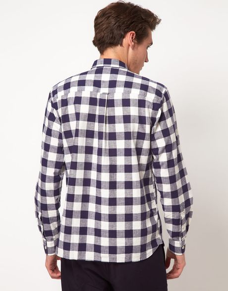 Fred perry textured gingham check shirt in blue for men for Navy blue gingham shirt