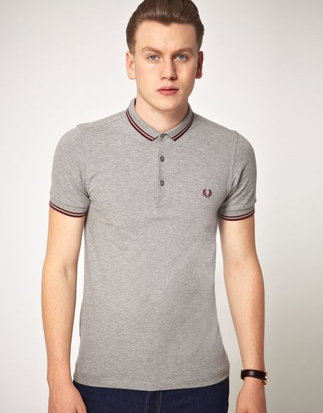 fred perry fred perry slim fit micro collar polo shirt in. Black Bedroom Furniture Sets. Home Design Ideas
