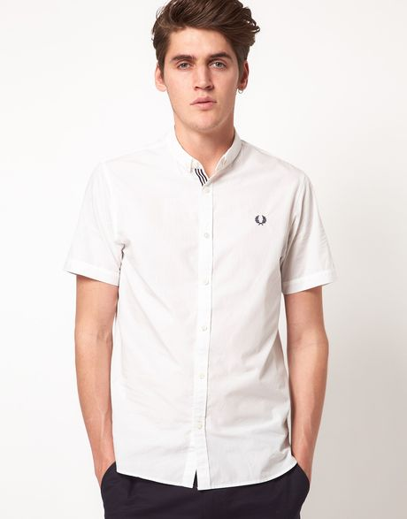 Fred perry end on end short sleeve shirt in white for men for Fred perry mens shirts sale