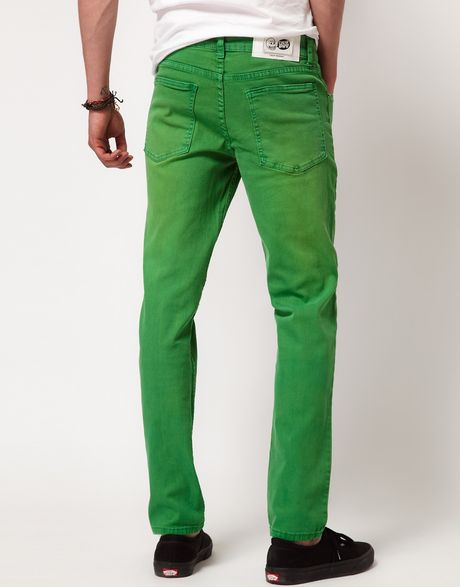 cheap monday cheap monday tight skinny jeans in green for. Black Bedroom Furniture Sets. Home Design Ideas