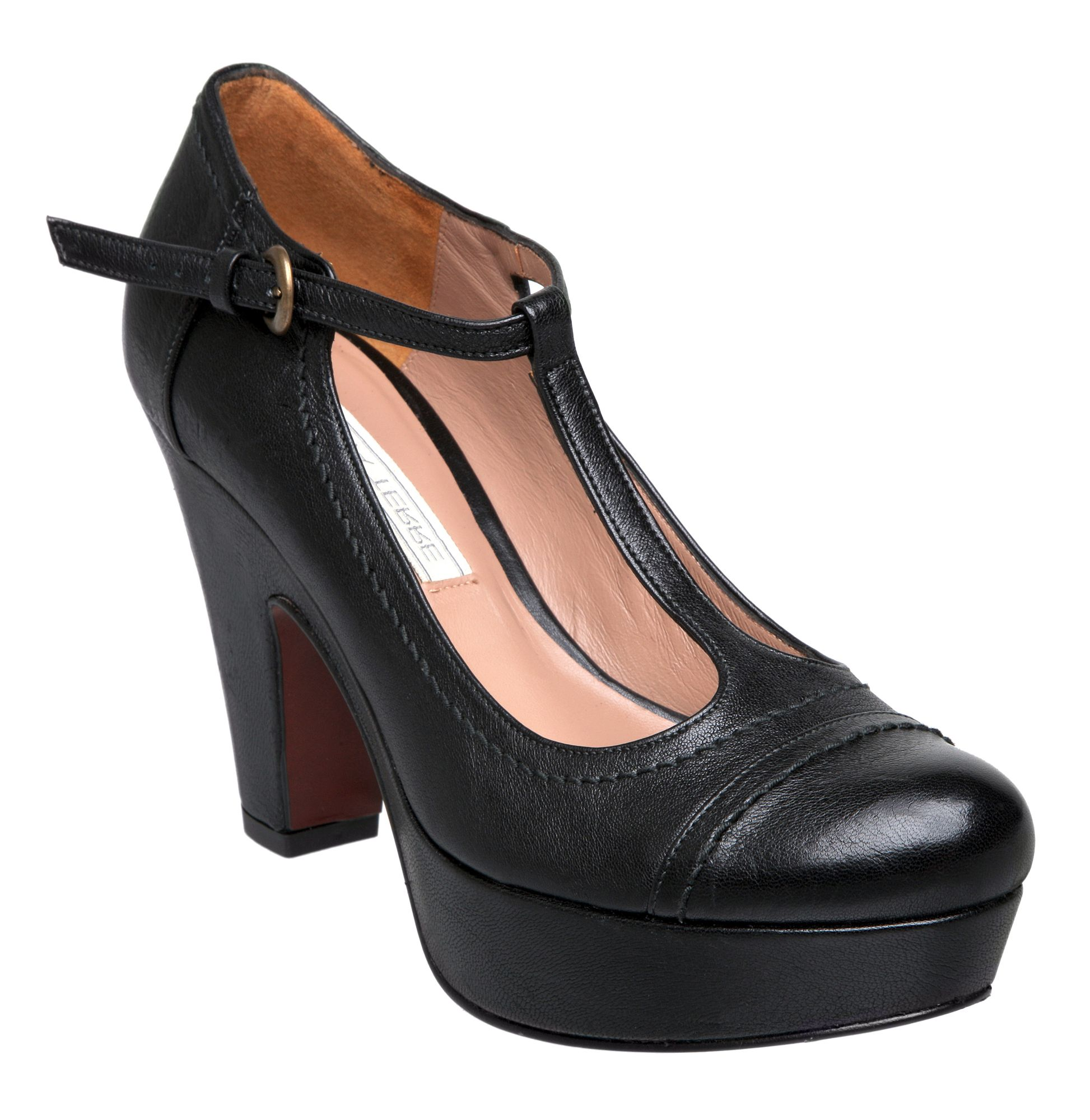Pied A Terre Ajoite T Bar Platform Court Shoes In Black Lyst