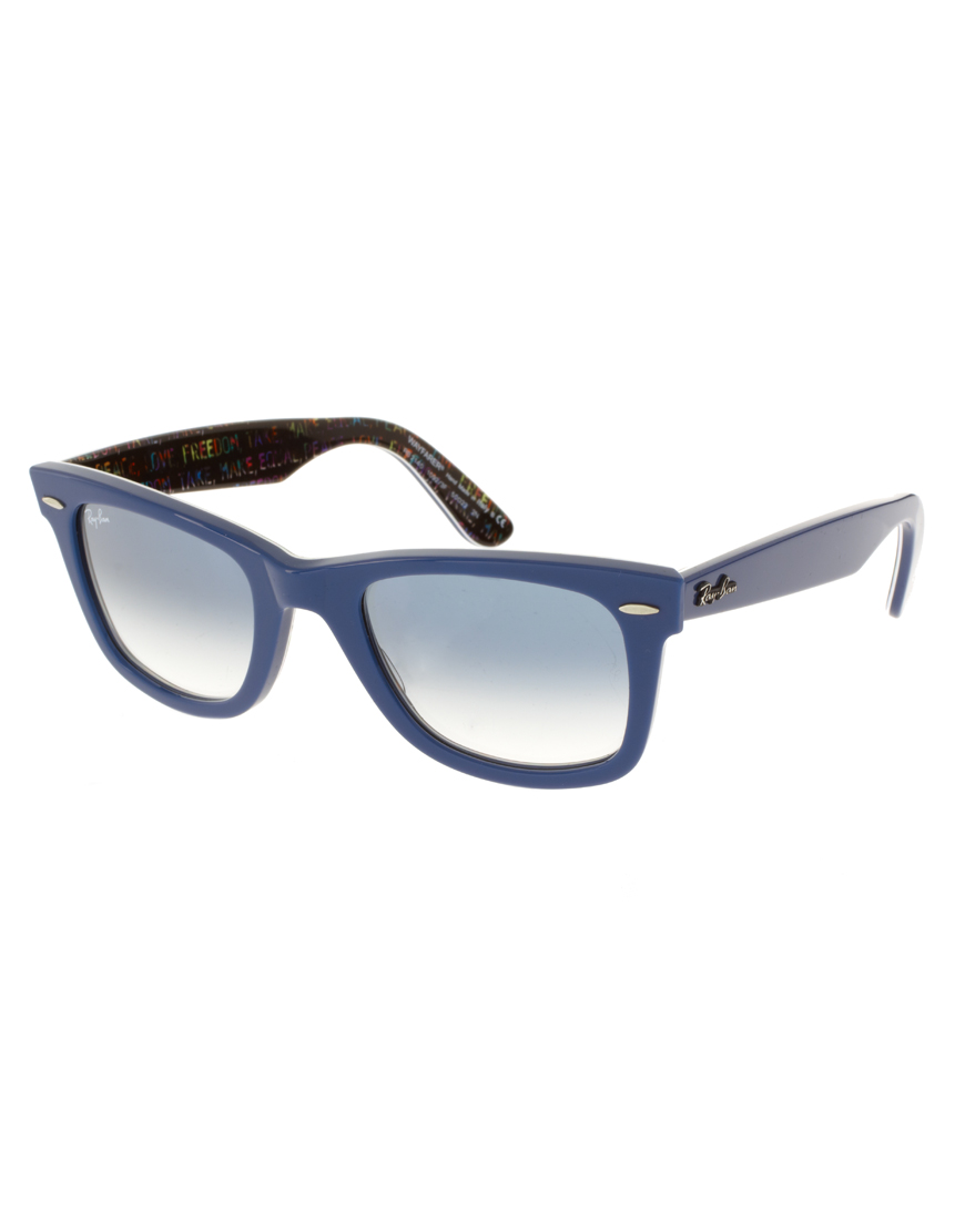 ray ban wayfarer sunglasses with internal print in blue for men lyst. Black Bedroom Furniture Sets. Home Design Ideas