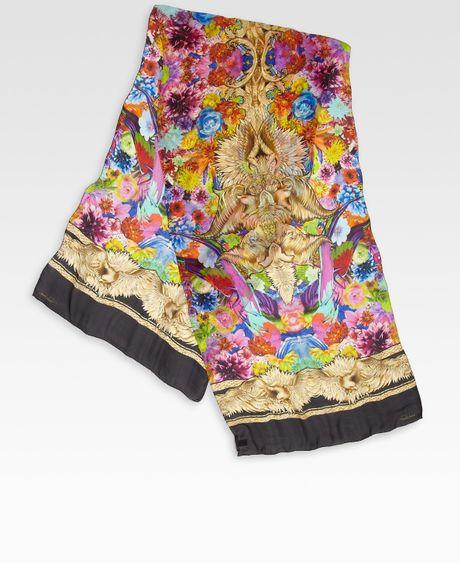 Roberto Cavalli Multicolored Floral Wing Printed Silk