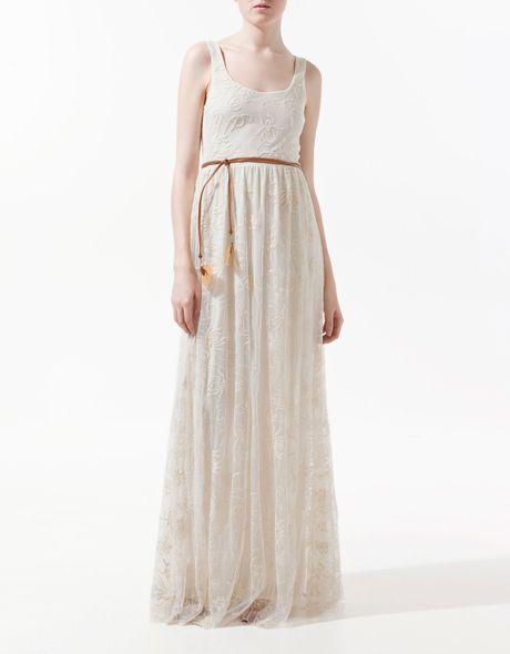 Zara Long Embroidered Dress In Beige (ecru)   Lyst
