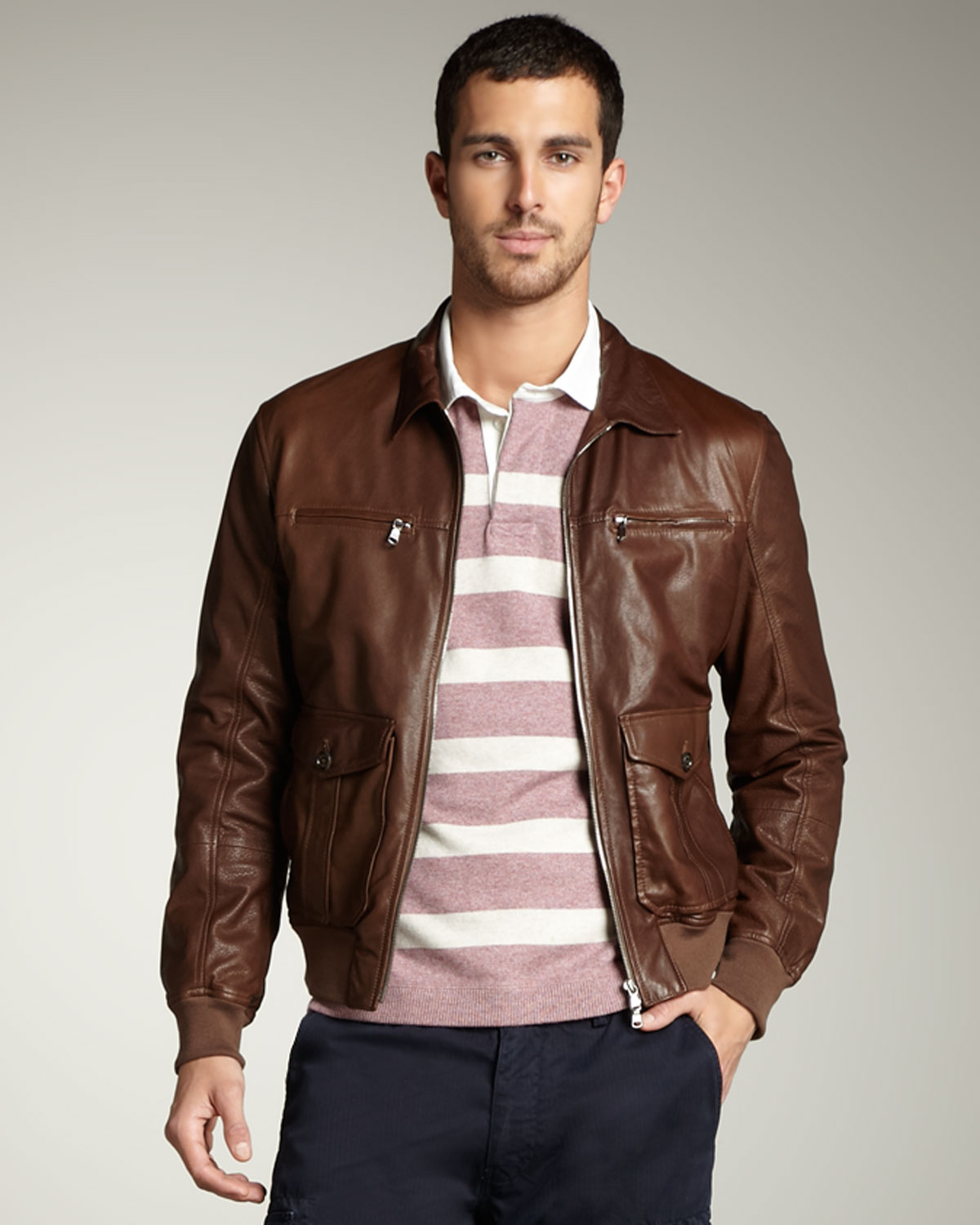 Brunello cucinelli Leather Bomber Jacket in Brown for Men | Lyst